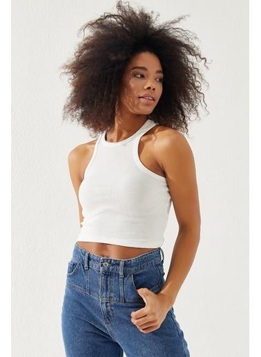 Reyon  Kadın Kalın Askılı Crop Bluz Sarı Beyaz